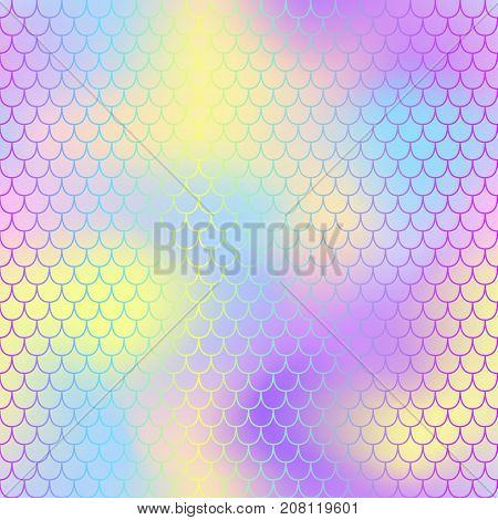 Vibrant fish scale pattern with color mesh background. Mermaid vector seamless pattern. Aquatic surface design. Smooth color mesh tile. Marine animal skin ornament. Aquatic pattern.
