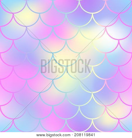 Gentle fish scale pattern with color mesh background. Mermaid vector seamless pattern. Aquatic surface design. Smooth color mesh tile. Marine animal skin ornament. Aquatic pattern. Magic mermaid tail