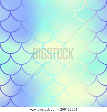 Water fish scale pattern with color mesh background. Mermaid vector seamless pattern. Aquatic surface design. Smooth color mesh tile. Marine animal skin ornament. Aquatic pattern. Magic mermaid tail