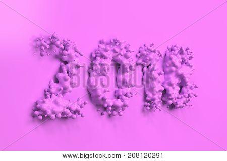 Liquid Violet 2018 Number With Drops On Violet Background