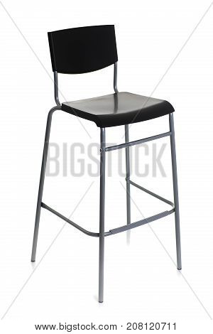 Barstool on high metal legs with a black backboard isolated on white background