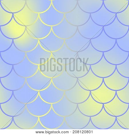 Contrast fish skin with scale pattern. Mermaid tail vector background. Mermaid fishscale seamless background for nursery design. Seamless color mesh with fish scale ornament