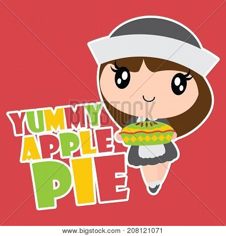 Cute pilgrim girl brings apple pie vector cartoon illustration for happy thanksgiving's day card design, wallpaper and kid t-shirt design