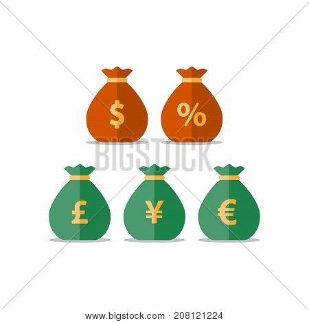 Pound, yen, euro currency, dollar money bag, interest rate percentage sign, business and finance, return on investment, financial solution, prepayment and down payment concept, income tax, vector icon