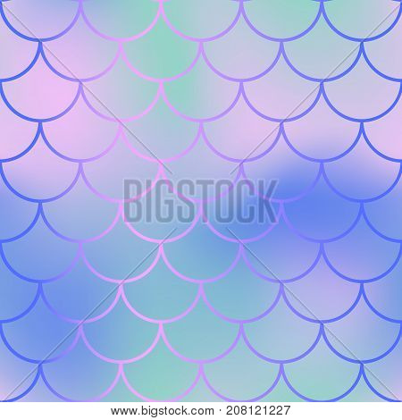 Fantastic fish skin with scale pattern. Mermaid vector background. Mermaid seamless pattern. Fantastic nautical seamless background for nursery design. Seamless color mesh with fish scale ornament