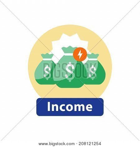 Super prize fund, big win money icon, fundraising, financial investment, fortune concept vector illustration