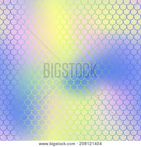 Vivid fish skin with scale pattern. Mermaid tail vector background. Mermaid seamless pattern. Seamless color mesh. Fish scale ornament