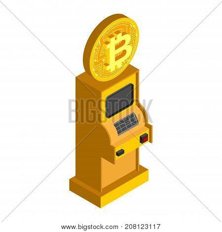 Bitcoin Atm. Crypto Currency Cash Dispenser. Virtual Money Cash Machine. Vector Illustrator