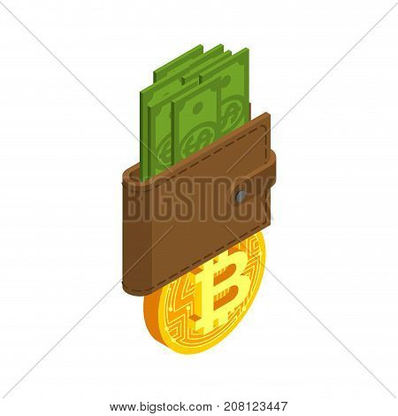 Exchange Bitcoin. Crypto Currency Purse Stock Exchange Sign. Virtual Money Swap. Vector Illustrator