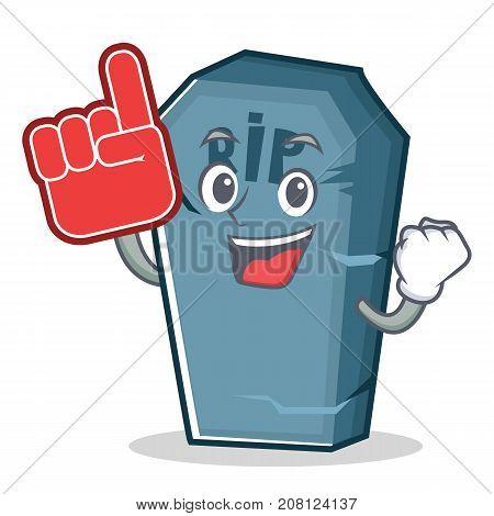 Foam finger tombstone character cartoon object vector illustration