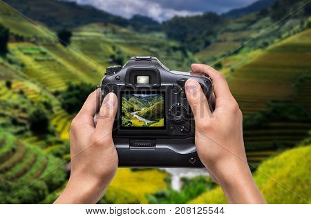 Hands holding the camera which taking photo of Rice fields on terraced of Mu Cang Chai District at sunrise time YenBai province Northwest Vietnam worm tone