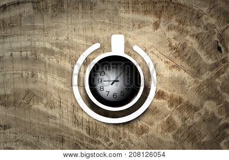 Coffee cup with power-on symbol with time over the wooden background. Energy and active concept, 3D