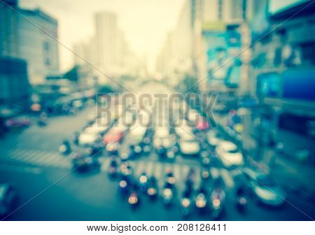 abstract Blurred photo of traffic jam with rush hour