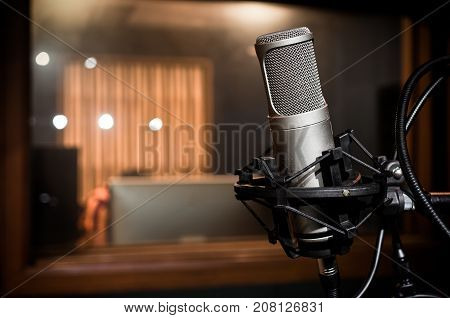 Professional condenser studio microphone and music instrument Musical Concept