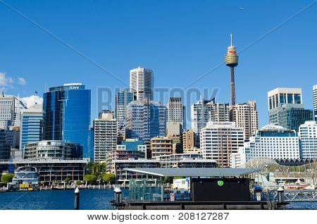 SYDNEY - AUGUST 16: View of Sydney from Darling Harbour. Darling Harbour the city centre of Sydney is an area of entertainment facilities and a pedestrian walkway. August 16 2017 Sydney Australia.
