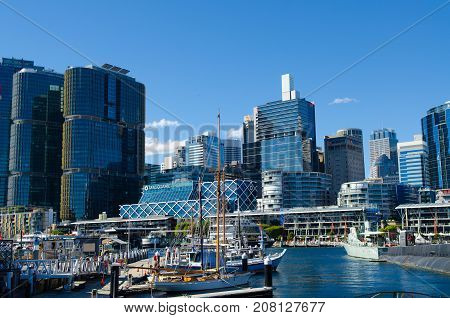 Darling Harbour Sydney Australia - August 16 2017. View of Darling Harbour Sydney CBD New South Wales Australia.