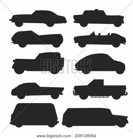 Retro vintage old style car vehicle automobile exclusive black silhouette speed sport transport antique garage classic auto vector illustration. Machine engine model automotive race.