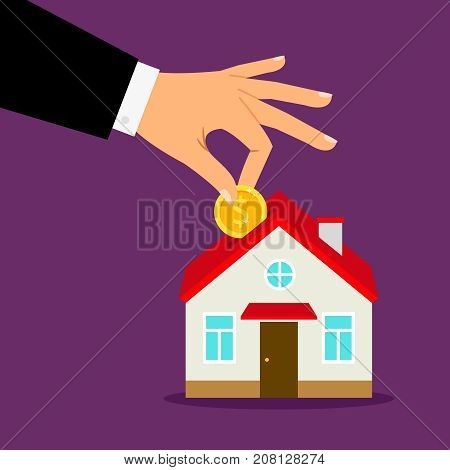 Piggy bank house concept. House bank savings, hand puts coin into home moneybox vector illustration