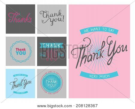 Thank you gratitude feeling emotions text lettering vector logo badge thanksfull quote phrases message flayer brochure layout card design