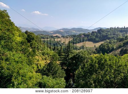 Countryside view from the Fortress of San Leo San Leo Italy