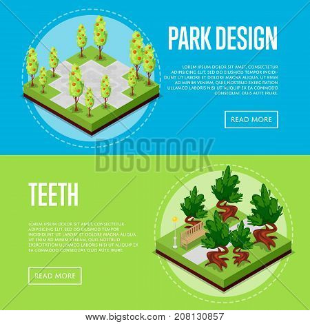Park design isometric posters. Field with green grass and apple trees, park path and benches. Public parkland zone landscape with decorative plants, outdoor natural recreation vector illustration.