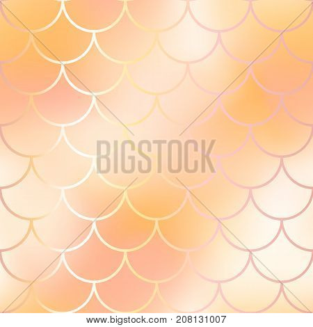 Mermaid scale pattern background. Gradient mesh vector texture. Blush pink and yellow fish skin background. Fantastic rose gold fish pattern. Golden fish skin seamless pattern