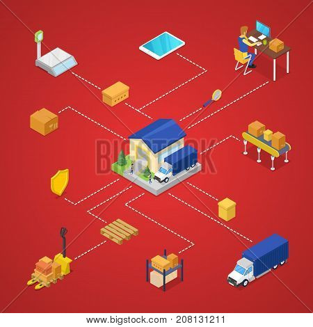 Commercial shipping and goods delivery isometric 3d infographics. Freight shipment and warehouse management, logistics and distribution, fast delivering. Cargo transportation vector illustration