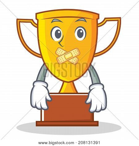 Silent trophy character cartoon style vector illustration