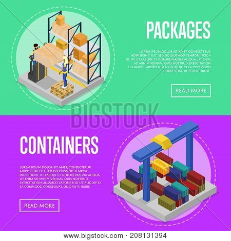 Delivery packing and cargo containers isometric posters. Worldwide shipping and distribution, global delivery transportation, warehouse logistics. Commercial cargo transportation vector illustration
