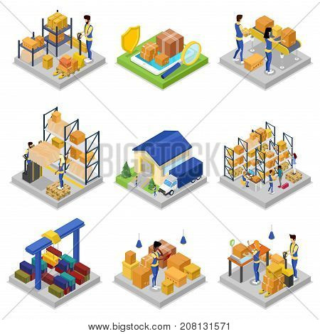 Warehouse management isometric 3D set. Freight warehousing and goods distribution, fast delivery service, local commercial transportation, storehouse logistics, cargo terminal vector illustration.