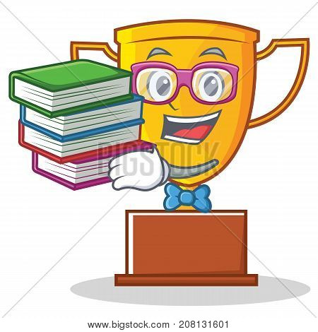Geek trophy character cartoon style vector illustration
