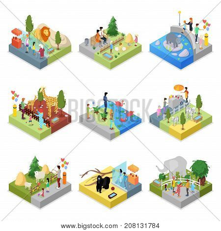 Public zoo with wild animals landscapes isometric 3D set. Lion, behemoth, zebra, giraffe, flamingo, gorilla, elephant, sheep in cages. Zoo infrastructure elements for design vector illustration.