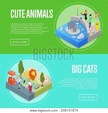 Public zoo with wild animals and visitors isometric 3D posters set. People near lion and hippopotamus in cages. Zoo infrastructure elements for landscape design, outdoor recreation vector illustration