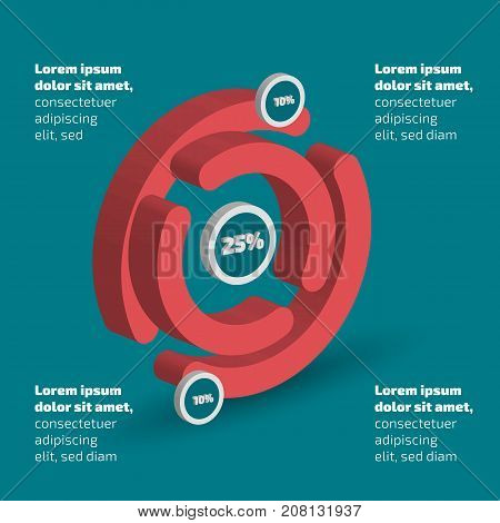 Three dimensional abstract circle shape infographic with shadow