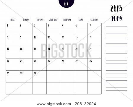 Vector Of Calendar 2018 ( July ) In Simple Clean Table Style With Note Line In Earth Tone Color Them