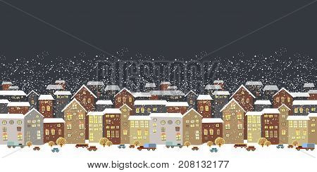 Winter Christmas landscape. Christmas background with fairy tale houses. Vector illustration.