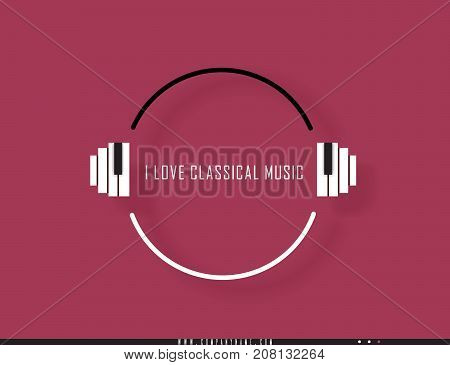 Musical quote in a frame. Creative quotation in the form of piano keys. Speech Bubble. Sign icon. Modern design elements for classical music. Isolated on a burgundy background. Vector illustration