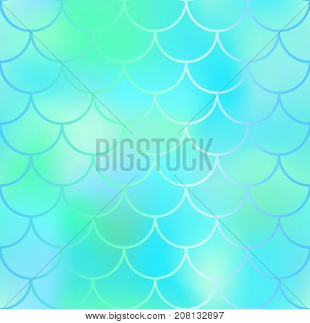Fantastic blue mint fish skin vector pattern. Mermaid seamless pattern. Fish scale vector pattern. Mermaid tail background.  Wedding pattern