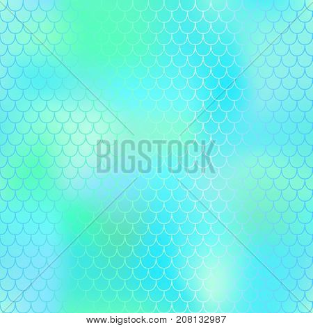 Fantastic mint green fish skin vector pattern. Mermaid seamless pattern. Fish scale vector pattern. Mermaid tail background. Fish skin texture in pastel colors. Mermaid skin surface. Wedding pattern