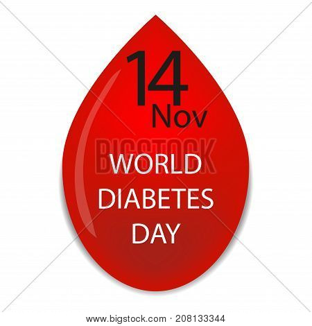 World Diabetes Day. Symbol with blood drop. Healthcare. Medical vector illustration.