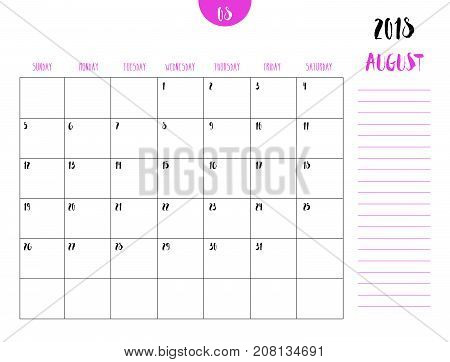Vector Of Calendar 2018 ( August ) In Simple Clean Table Style With Note Line In Earth Tone Color Th