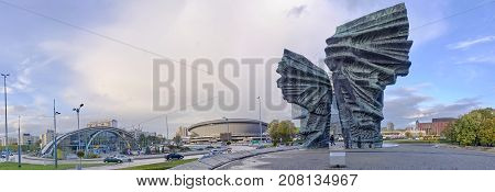 KATOWICE POLAND - OCTOBER 6 2017: Silesian Insurgents Monument on 6 October 2017 in Katowice Poland. Silesian Insurgents Monument is located in the center of the great square