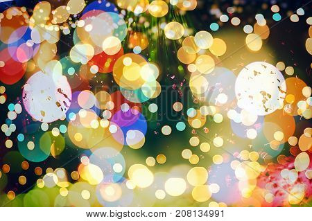 Festive Christmas background . Mystic color abstract background, circle bokeh.
