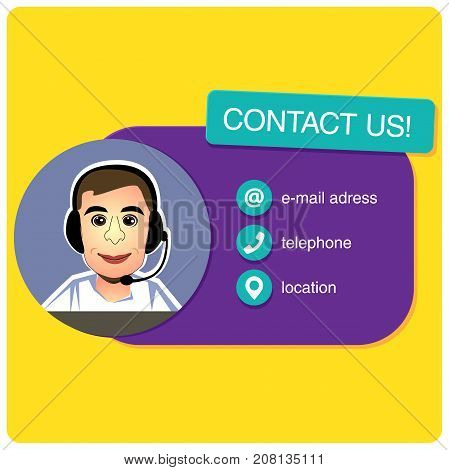 Customer service banner with call center support feedback. Male character in the cartoon style. vector illustration
