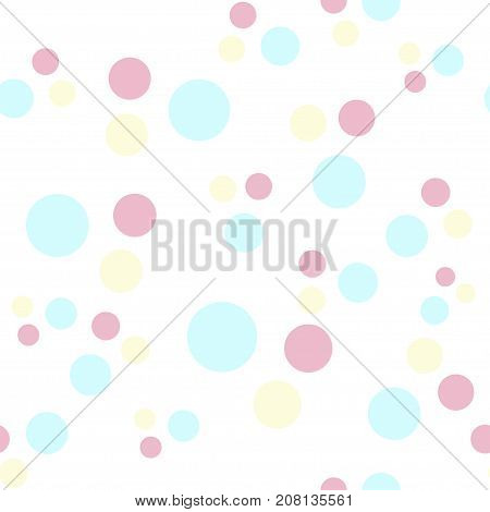 vector pastel seamless pattern of colored circles. Ideal for fabric, wrapping paper, for baby apparel, childrens products.