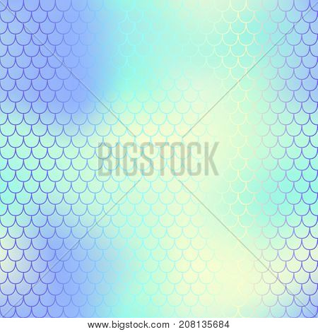 Fish scale pattern with cool color mesh background. Mermaid vector seamless pattern. Aquatic surface design. Smooth color mesh tile. Marine animal skin ornament. Aquatic pattern. Magic mermaid tail
