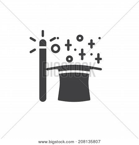 Magic wand and magic hat icon vector, filled flat sign, solid pictogram isolated on white. Symbol, logo illustration.
