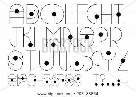 Futuristic type with alphabet numbers and punctuation signs. Modern font with line and circle. English alphabet in futuristic or cosmic style. Elegant typeface with thin black lines. Sparse font