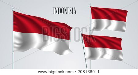 Indonesia waving flag set of vector illustration. White red of Indonesia wavy realistic flag as a patriotic symbol