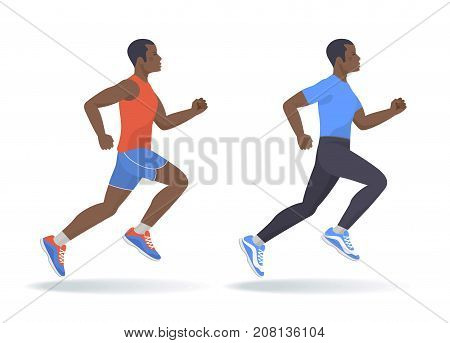 The running afro american man set. Side view of active sporty running young men in a sportswear. Sport, jogging, fitness, workout, active people, concept. Flat vector illustration isolated on white.